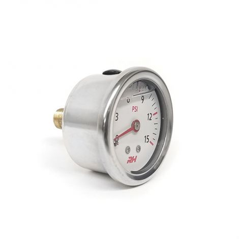 """Fuel Pressure Gauge - 1.5"""" Diameter Dial liquid - White"""